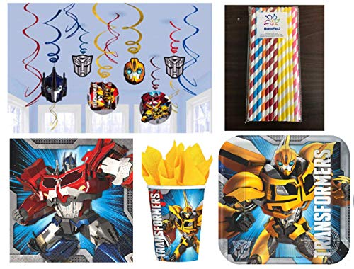 Transformers Birthday Party Supplies Kit, Includes Plates, Napkins, Cups, Hanging Swirls and ElevenPlus2 straws