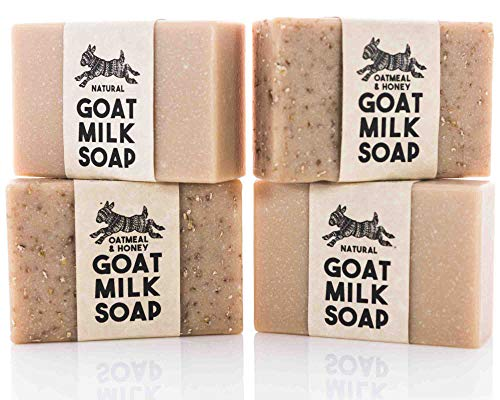 Natural Oatmeal & Honey Variety Pack ~ Creamy Psoriasis & Eczema Relief Goats Milk Soap | All Natural Organic Ingredients | Unscented + Oatmeal & Honey | SLS, BPA & Paraben Free! Handmade in the USA!