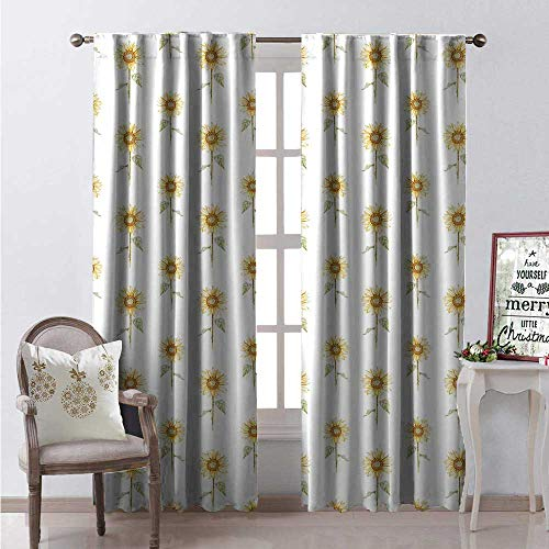 Sunflower Waterproof Window Curtain Hand Drawn Floral Pattern Watercolor Effect Nature Illustration Decorative Curtains for Living Room W108 x L84 Reseda Green Yellow ()