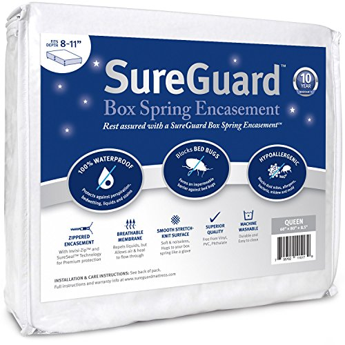 Queen Size SureGuard Box Spring Encasement - 100% Waterproof, Bed Bug Proof, Hypoallergenic - Premium Zippered Six-Sided Cover - 10 Year Warranty