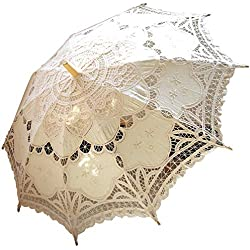 Battenburg Ivory Lace Parasol Umbrella Wedding Bridal 30 Inch Adult Size