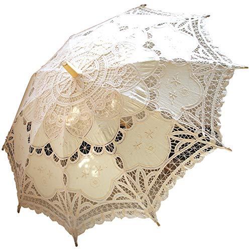 AEAOA Handmade Ivory Lace Parasol Umbrella Wedding Bridal 30 Inch Adult -