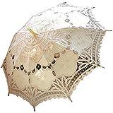 AEAOA Handmade Ivory Lace Parasol Umbrella Wedding