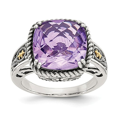 Sterling Silver With 14k Amethyst Ring - Size 8