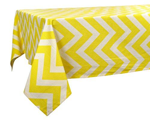 60 x 84 in. Cotton Tablecloth Chevron Stripes Yellow & ()