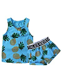 Baby Boys Girls Pineapple Flower Sleeveless Tank Top + Shorts Set Outfit