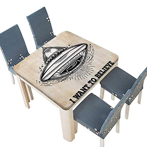 PINAFORE Polyester Alien Roller Flight with Lieve Quote Retro Mystery ntasy Symbol Spillproof Fabric Tablecloth 29.5 x 29.5 INCH (Elastic Edge)