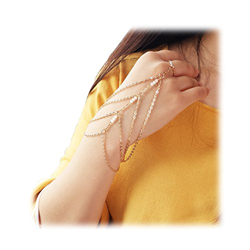 (Geerier Hand Harness Bracelet Linked Finger Bracelet Multilayer Accessory Jewelry)