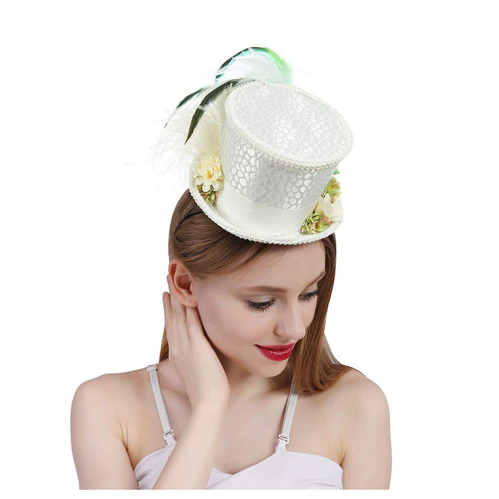 LL Women's White Mini Top Hat Tea Hat Mad Hatter Tea hat, Bridal Hat, Kentucky Derby hat (Color : White, Size : 25-30cm) by LL (Image #1)