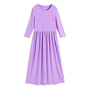 5151333b2f34 Amazon.com  Kids Baby Girl Maxi Long Dress Long Sleeves Solid Color Party  Princess Casual Dress Beachwear Child Dress Clothes (S