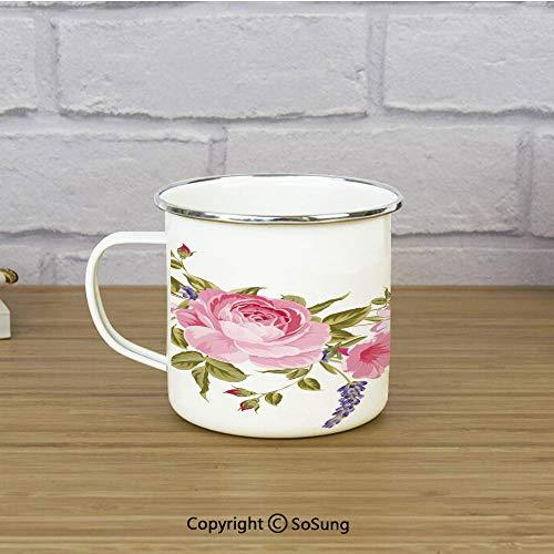 (Lavender Enamel Coffee Mug,Bridal Style Garland of Rose Sakura and Lavender Vintage Artistic Bouquet Flora,11 oz Practical Cup for Kitchen, Campfire, Home, TravelMulticolor)
