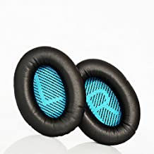Replacement ear cushions for Bose Quiet Comfort 25 (QC25) headphones. Complete with blue/black scrims with 'L and R' lettering (Black)