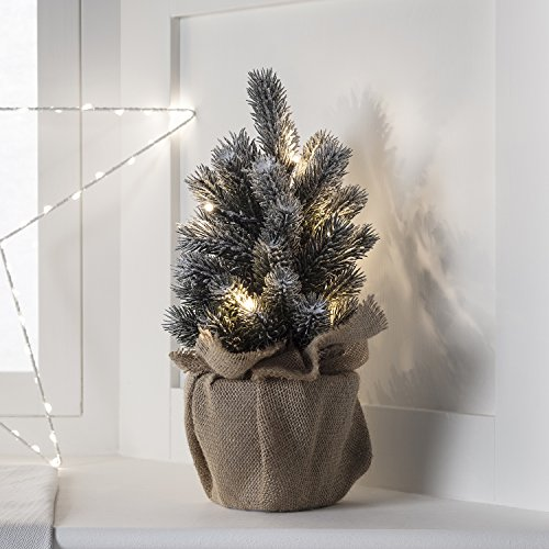 """12"""" Pre Lit Battery Operated LED Mini Frosted Artificial Christmas Tree - Trees Lit Pre Mini Christmas"""
