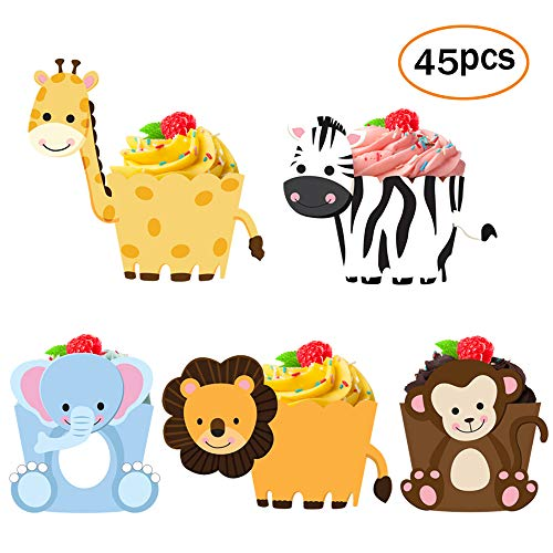 Price comparison product image 45 Pack Zoo Animal Cupcake Toppers Cupcake Wrappers For Jungle Safari Baby Shower Decorations, Kids Birthday Party Supplies