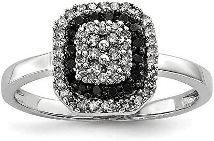 Sterling Silver Black and White Diamond Square Frame Ring, Size 6