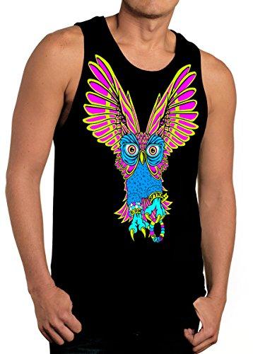 SFYNX 'PLUR Owl' Men's Rave Tank Top - Glow in the Dark EDM Clothing - Black Light Reactive Tank (Mens Rave Wear)