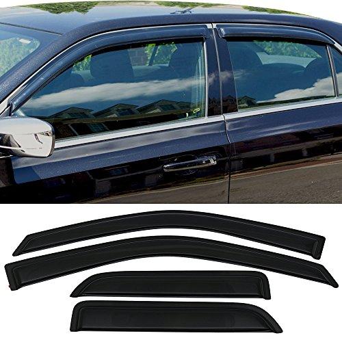 Window Visor Fits 2009-2018 Dodge Ram 1500 Quad Cab   Slim Style Acrylic Smoke Tinted 4PCS by IKON MOTORSPORTS -