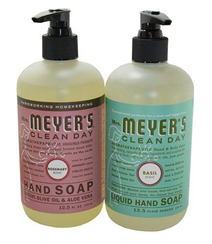 Basil Soap Hand (Mrs. Meyers Liquid Hand Soap - Basil & Rosemary, 12.5 oz. each)