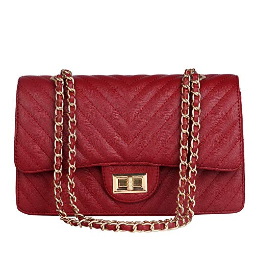 Classic Crossbody Shoulder Bag 2.55 Handbag for Women Quilted Purse with Metal Chain Strap Genuine Leather Quilted Chain Strap Crossbody Bag-red Square