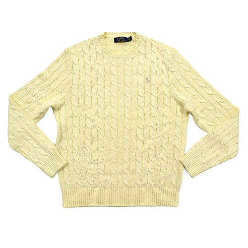 Polo Ralph Lauren Mens Cable Knit Crew Neck Sweater (Large, Chic Cream)