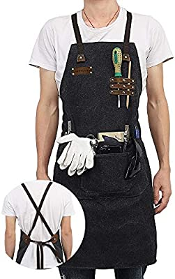 JEXICASE Tool Apron Waxed Canvas Shop Apron Heavy Duty Work Apron for Men /& Women with Pocket /& Cross-Back Straps Adjustable Black