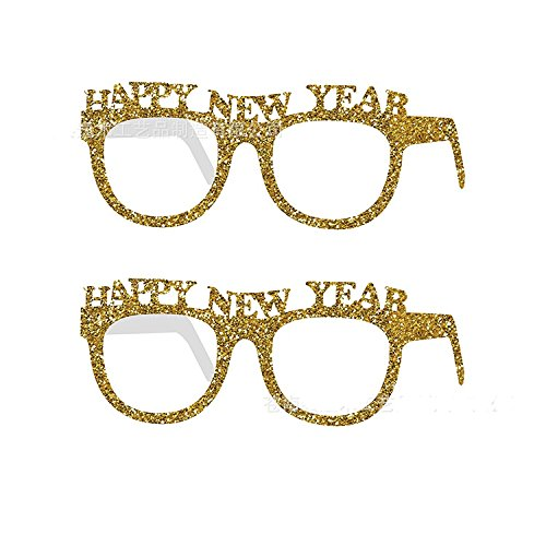 Miss.AJ 10 pcs Glitter Glasses for New Year,Party HAPPY NEW YEAR Eyeglasses Frame Fancy Photo Prop for New Year Eve Party -