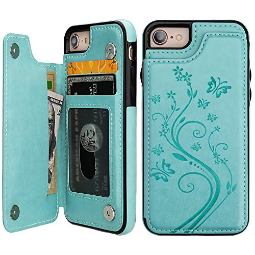 Butterfly Phone Cover - iPhone 7 iPhone 8 Case Wallet with Card Holder, Vaburs Embossed Butterfly Premium PU Leather Double Magnetic Buttons Flip Shockproof Protective Cover for iPhone 7 iPhone 8 Case(Mint Green)
