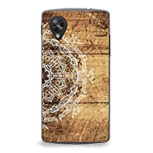 Case for Nexus 5, CasesByLorraine Wood Print Mandala Floral Henna Pattern Case Plastic Hard Cover for LG Google Nexus 5 (S04)