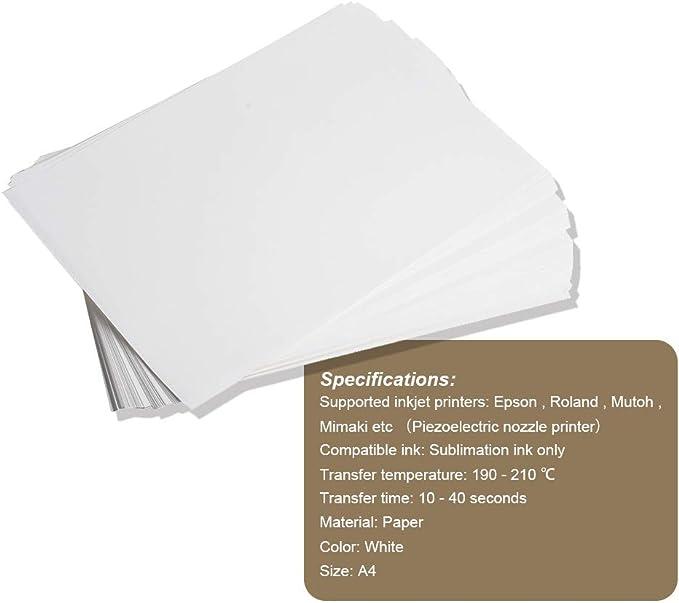 100 Sheets A4 Dye Sublimation Paper Heat Transfer for Inkjet T-Shirt Mug Cotton