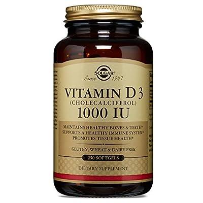 Solgar - Vitamin D3 (Cholecalciferol) 1,000 IU Softgels, 250 Count