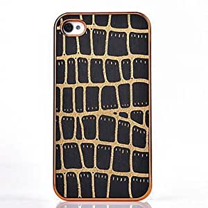 TOPMM Snakeskin Leather Gold Chrome Hard Case for iPhone 4/4S (Assorted Colors) , Blue