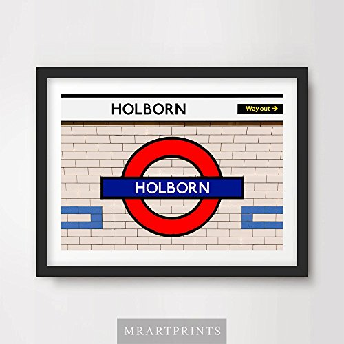 LONDON UNDERGROUND HOLBURN ART PRINT POSTER Tube Station Sign Train Railway British Urban City Metro Subway Decor A4 A3 A2 (10 Size (Metro Sign)