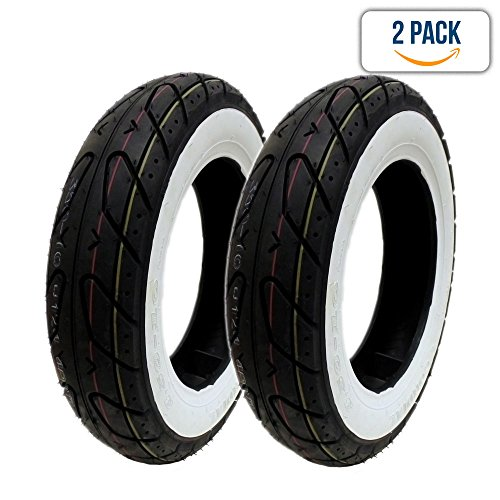 """SET OF TWO: Scooter Tubeless Tire 3.50-10 Front Rear Motorcycle Moped 10"""" Rim - White Sidewall"""