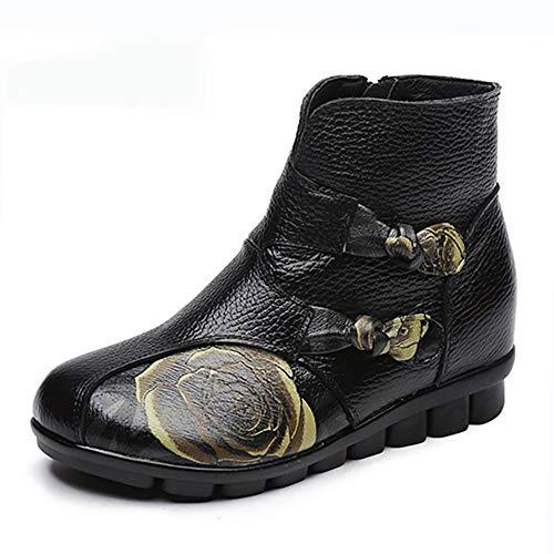 Hechas De Pingxiannv Zapato Casuales Mano Nieve A Cuero Botas Folk Cómodas Mujer Para Estilo Botines Y Planas qCxnwx5p0R