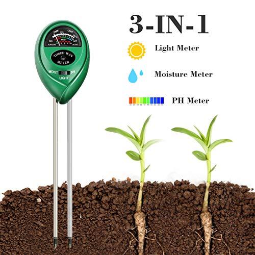YOMYM 3-in-1 Soil Moisture Light and PH Acidity Tester Plant Tester Indoor Outdoor Soil Moisture Sensor Meter