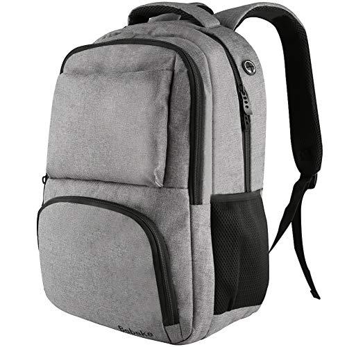 Bebeke Laptop Backpack, Business Travel Backpack Large Computer Laptop Backpack Bag Durable College Student School Bookbag for Men and Women Fits 15.6 Inch Laptop & Notebook (Grey) -