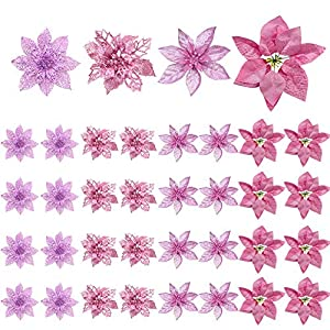 36 pezzi Decorazione per albero di Natale Fiori, Glitter rosa Poinsettia artificiale Fiori di Natale Ornamenti per alberi di Natale per Natale Festa di nozze Ghirlanda Decorazioni fai da te 2 spesavip