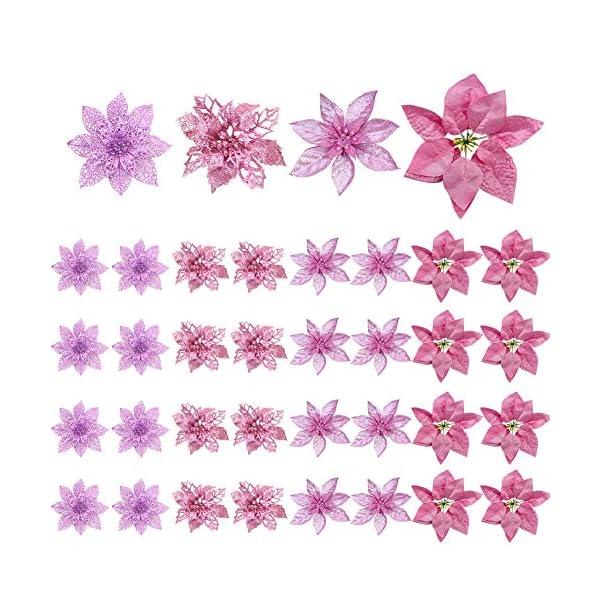 36 pezzi Decorazione per albero di Natale Fiori, Glitter rosa Poinsettia artificiale Fiori di Natale Ornamenti per alberi di Natale per Natale Festa di nozze Ghirlanda Decorazioni fai da te 1 spesavip