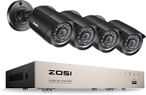ZOSI 720P 4CH HD Security Camera System with 4 Weatherproof 3.6mm Lens 65ft Night Vision 720P Security Cameras NO Hard Drive Support Smartphone Scan QR Code Quick Remote Access Renewed
