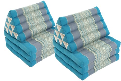 2 Triangular Lounges (Skyblues): 2x Triangle 3-fold Mats (67x20), 100% Kapok Filling! by Handelsturm