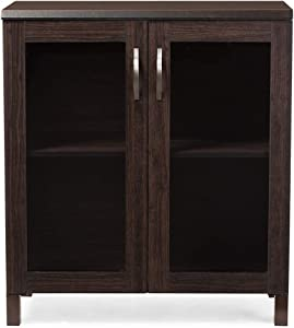 Baxton Studio Wholesale Interiors Sintra Sideboard Storage Cabinet with Glass Doors, Dark Brown