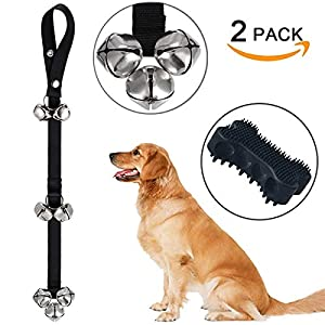Dog Bells Dog Potty Bells Dog Doorbells for Dog Training Adjustable Door Bell for Puppy with Collapsible Travel Pet Cat Dog Bowl 32