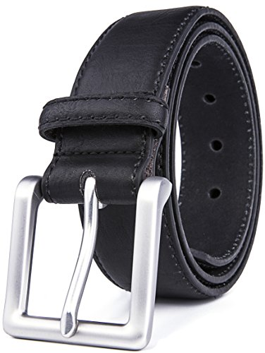 Belts for Men, Classic Stitched 1.69'' Width, Regular Tall & Big sizes - Mens Jeans Belt - Handmade (36/38, 2 Black) by Fabio Valenti