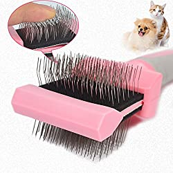 1Pc Multi-usage Dog Brush - Dog Puppy Cat Pet Hair Shedding Grooming Trimmer Comb - Brush Slicker Rake Tool - Space Teeth Comb - Pet Grooming Steel Thick Hair Fur Shedding Remove Rake Comb - 23x9.5cm