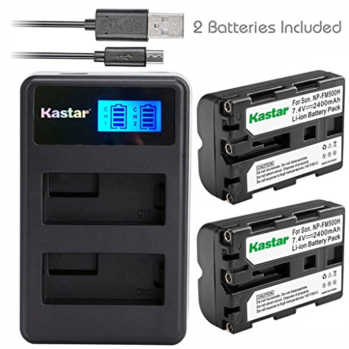 Kastar Battery (X2) & LCD Dual Charger for Sony NP-FM500H, NP-FM500 and Sony Alpha SLT A57 A58 A65 A77 A77V A77II A99 A350 A450 A500 A550 A700 A850 A900 CLM-V55 DSLR Camera & VG-C77AM (A550 Dslr Camera)
