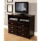 Discovery World Furniture 6 Drawer Entertainment Dresser, Espresso