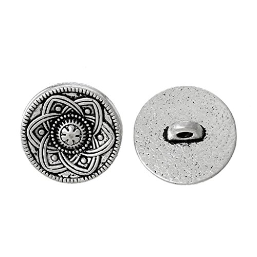 5 PCs Zinc metal alloy Shank Button Metal Buttons Round Antique Silver Single Hole Flower 15.0mm( 5/8