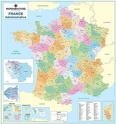 Mapa Administrativo Frances Mapa Politico De Pared Laminado De