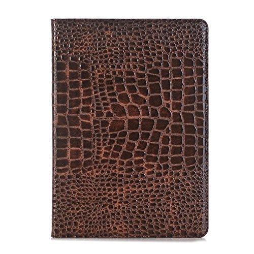 New iPad 9.7 Inch 2018/2017 Case, iPad Air 1/2 Case, DMaos Crocodile Reflector Leather Stand Folio Case Cover for iPad 5th (A1822, A1823)/iPad 6th (A1893, A1954), Auto Sleep/Wake - Brown