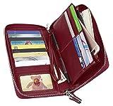 Women RFID Blocking Wallet Genuine Leather Zip Around Clutch Large Travel Purse Wine-Red